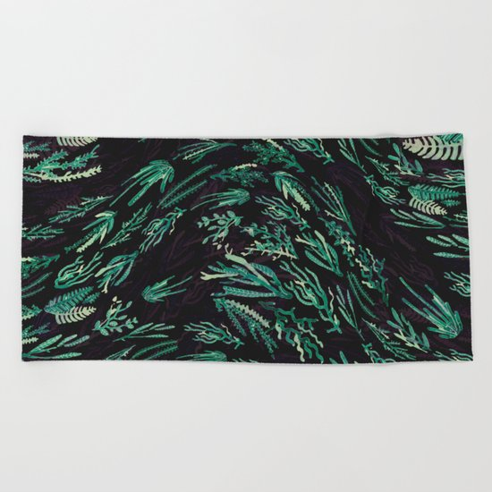 wave flora Beach Towel