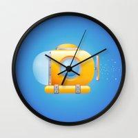submarine Wall Clocks featuring submarine by JuliaTara