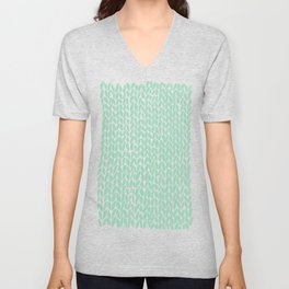 Hand Knit Mint Unisex V-Neck