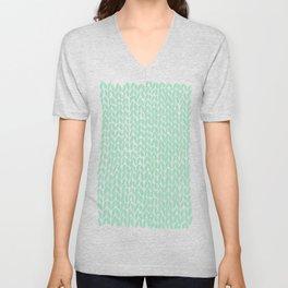 Hand Knit Mint Unisex V-Neck