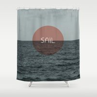 sail Shower Curtains featuring Sail by Carla Talabá