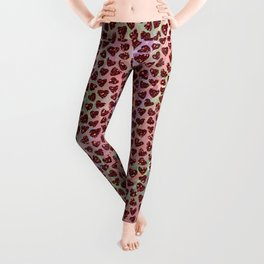 Abstract hearts pattern colorful glittery design Leggings