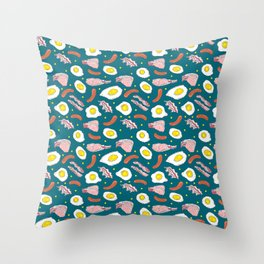 Bacon Eggs Sausages Breakfast Kitchen Food Pattern Throw Pillow