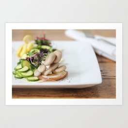 Summer Mushroom Salad Kitchen Art Art Print
