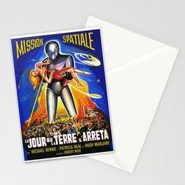 Mission Spatiale, Le Jour ou la Terre s Arreta, sci-fi vintage movie poster Stationery Cards