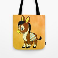 donkey Tote Bags featuring Childhood Donkey by Texnotropio