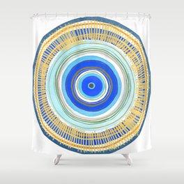 Turquoise Evil Eye Mandala Shower Curtain