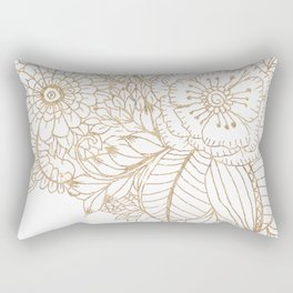 Elegant white faux gold glitter modern floral Rectangular Pillow
