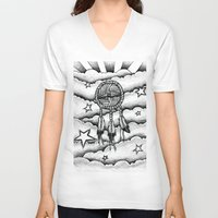 dream catcher V-neck T-shirts featuring Dream catcher by DeMoose_Art