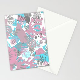 Artistic nautical teal pink gray coral floral pattern Stationery Cards