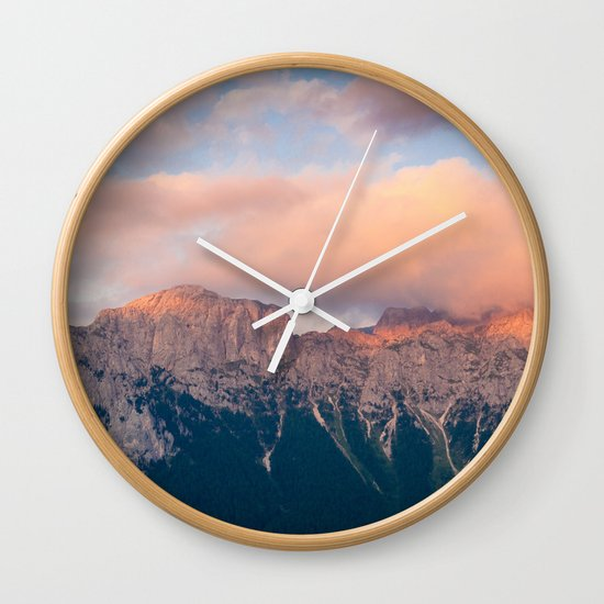 Pink Sunset Over Mount Amazing Wall Clock By Adventure