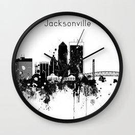 Black and White Jacksonville City Skyline Wall Clock