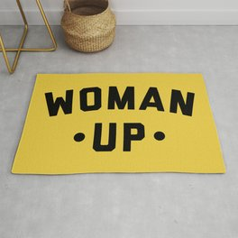 Woman Up 2 Feminist Saying Rug