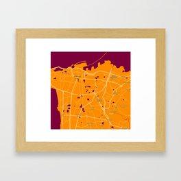 Minimalist Modern Map of Beirut, Lebanon 1 Framed Art Print
