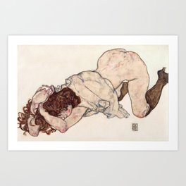 Kneeling Girl, Resting on Both Elbows Art Print