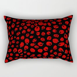 Ladybugs (Red on Black Variant) Rectangular Pillow