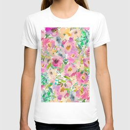Elegant blush pink lavender green watercolor floral T-shirt