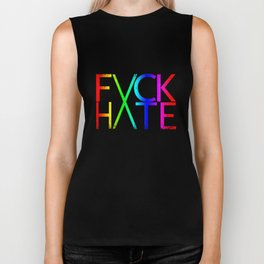 FXCK HXTE - Distressed Rainbow Biker Tank