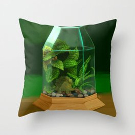 Tiny Dinosaur Terrarium with Stegosaurus Throw Pillow