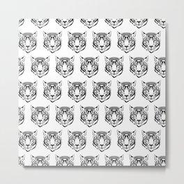 White Tiger Face Head Wild Animals Feline  Metal Print