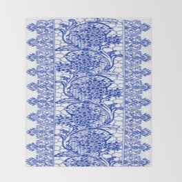 Sapphire Blue Lace Throw Blanket
