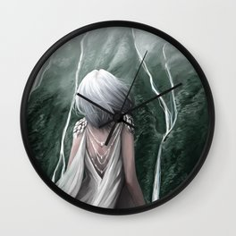 Girl  standing by a mountain Digital Art Painting Wall Clock