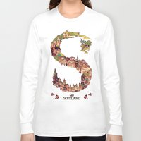 scotland Long Sleeve T-shirts featuring S is for Scotland by Kelly Chilton