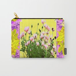 YELLOW DAFFODILS FLOWER GARDEN & PINK POPPIES DESIGN Carry-All Pouch