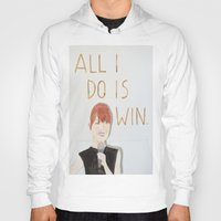 emma stone Hoodies featuring All I do is win, Emma stone  by Thespanishlady