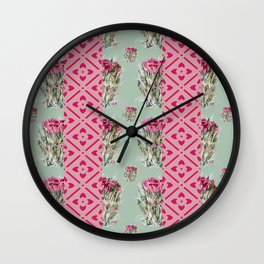 Dried Roses and light pink  Wall Clock
