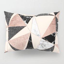 Modern black white marble rose gold glitter foil geometric abstract triangles pattern Pillow Sham
