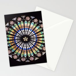 Stained glass cathedral rosette Stationery Cards
