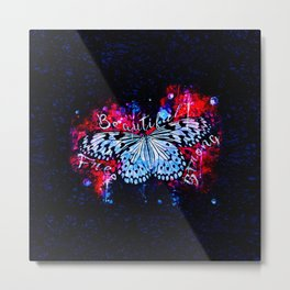 butterfly beautiful strong free splatter watercolor blue red Metal Print