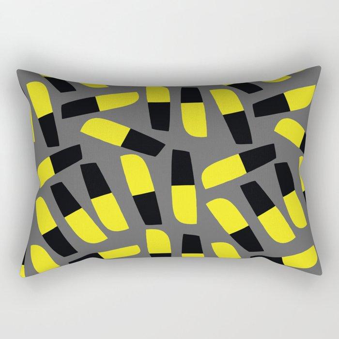 Yellow-Black-Grey Rectangular Pillow