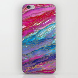 AGATE MAGIC PinkAqua Red Lavender, Marble Geode Natural Stone Inspired Watercolor Abstract Painting iPhone Skin