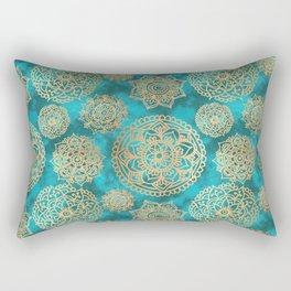 Light Blue and Gold Mandala Pattern Rectangular Pillow