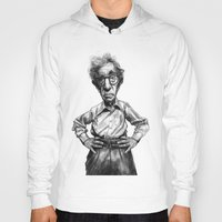 woody allen Hoodies featuring Woody Allen by MK-illustration