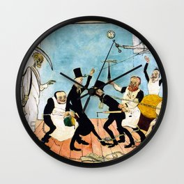 Death Comes (The Bad Doctors) portrait painting by James Ensor Wall Clock