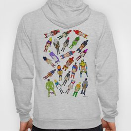 Superhero Butts with Villians - Light Pattern Hoody