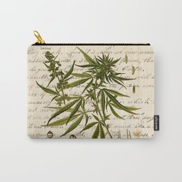 Marijuana Cannabis Botanical on Antique Journal Page Carry-All Pouch
