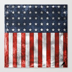 American Flag Stars and Stripes Distressed Grunge Canvas Print