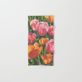 Pink and Yellow Tulips Hand & Bath Towel