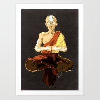 aang Art Prints featuring Aang by luvami