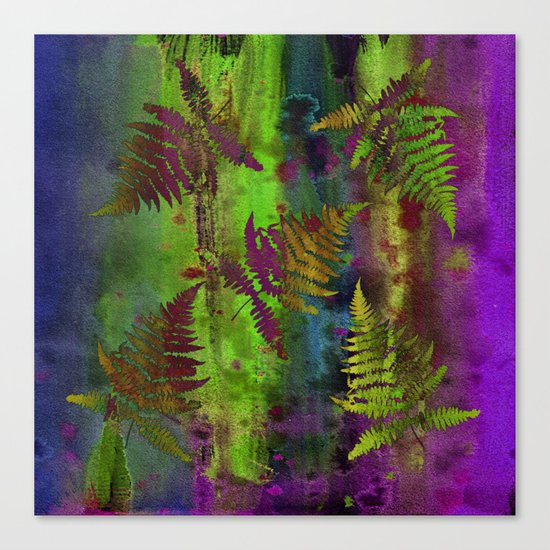 Colorful Fern Leaves Canvas Print