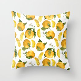 Blooming flowers and juicy citrus fruits with slices Throw Pillow