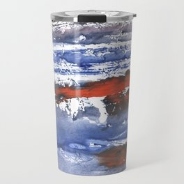 Blue gray stained aquarelle pattern Travel Mug