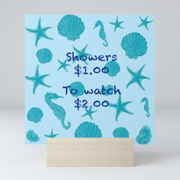 To shower or To watch Mini Art Print