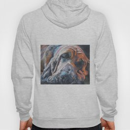 Bloodhound dog portrait Fine Art Dog Painting by L.A.Shepard Hoody
