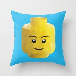 Yellow Legohead Polygon Art Throw Pillow