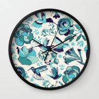 Hummingbird summerdance, Blue Wall Clock